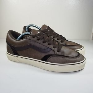 VANS Brown Leather Shoes Sneakers Men's Size 10
